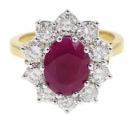18ct gold ruby and diamond cluster ring