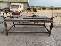 Steel workbench c/w metal hand tools