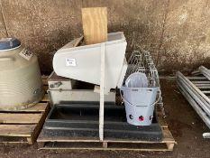 3' Plastic trough, galvanised Wydale creep feeder, hayrack, galvanised water trough