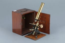 Society Of The Arts Brass Monocular Microscope,