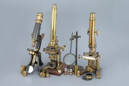 Collection of 3 Brass Microscope & Accessories,
