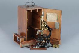 Leitz Brass Compound Monocular Microscope,