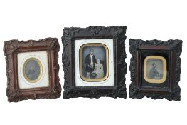 A collection of Three Framed Ambrotype Portraits,