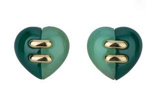 BULGARI. A pair of gold and hardstone heart earrings.