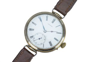LONGINES. An early 20th century chrome plated wristwatch.