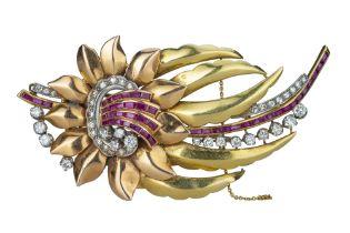 A mid 20th century ruby and diamond set flower spray brooch.