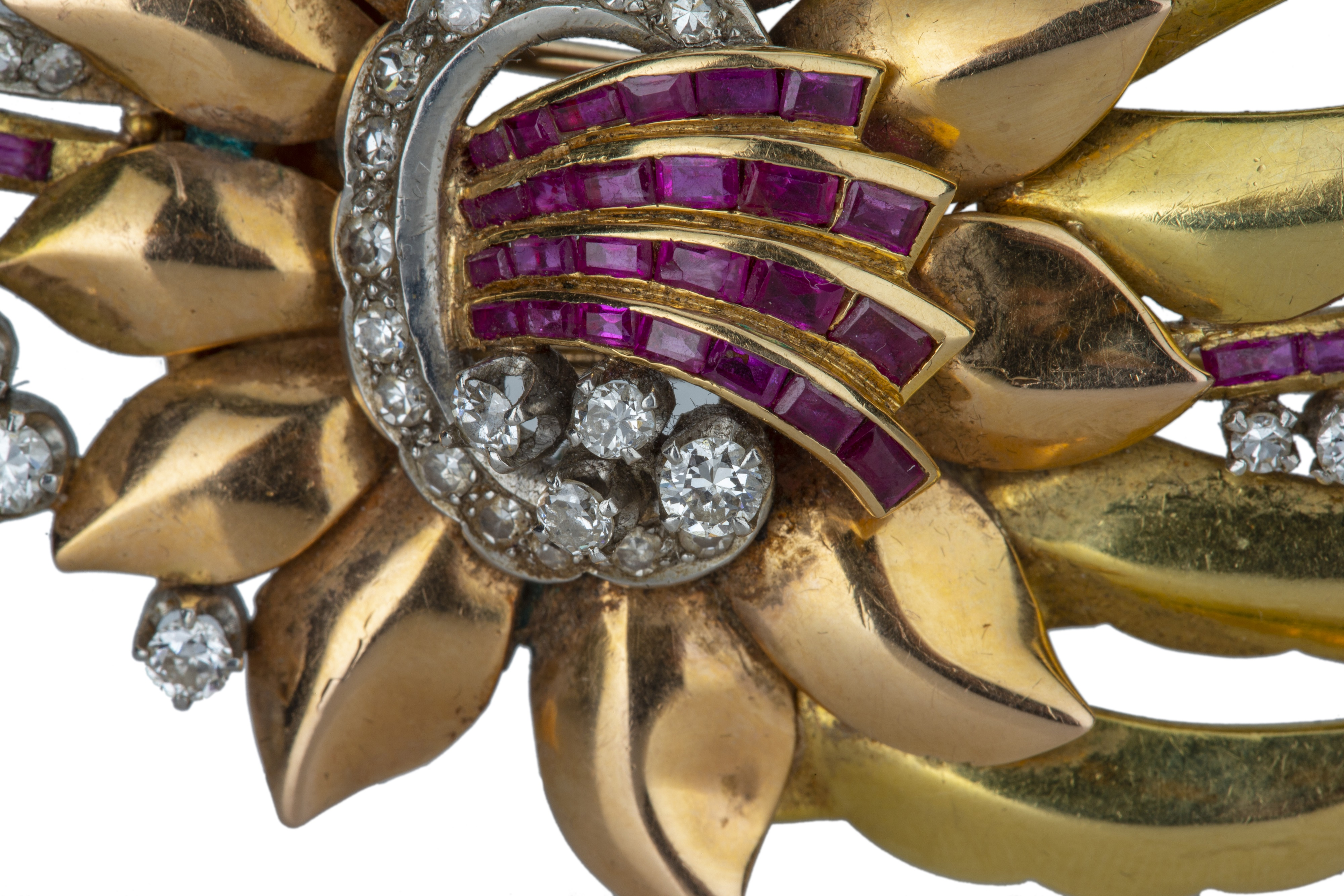 A mid 20th century ruby and diamond set flower spray brooch. - Image 2 of 3
