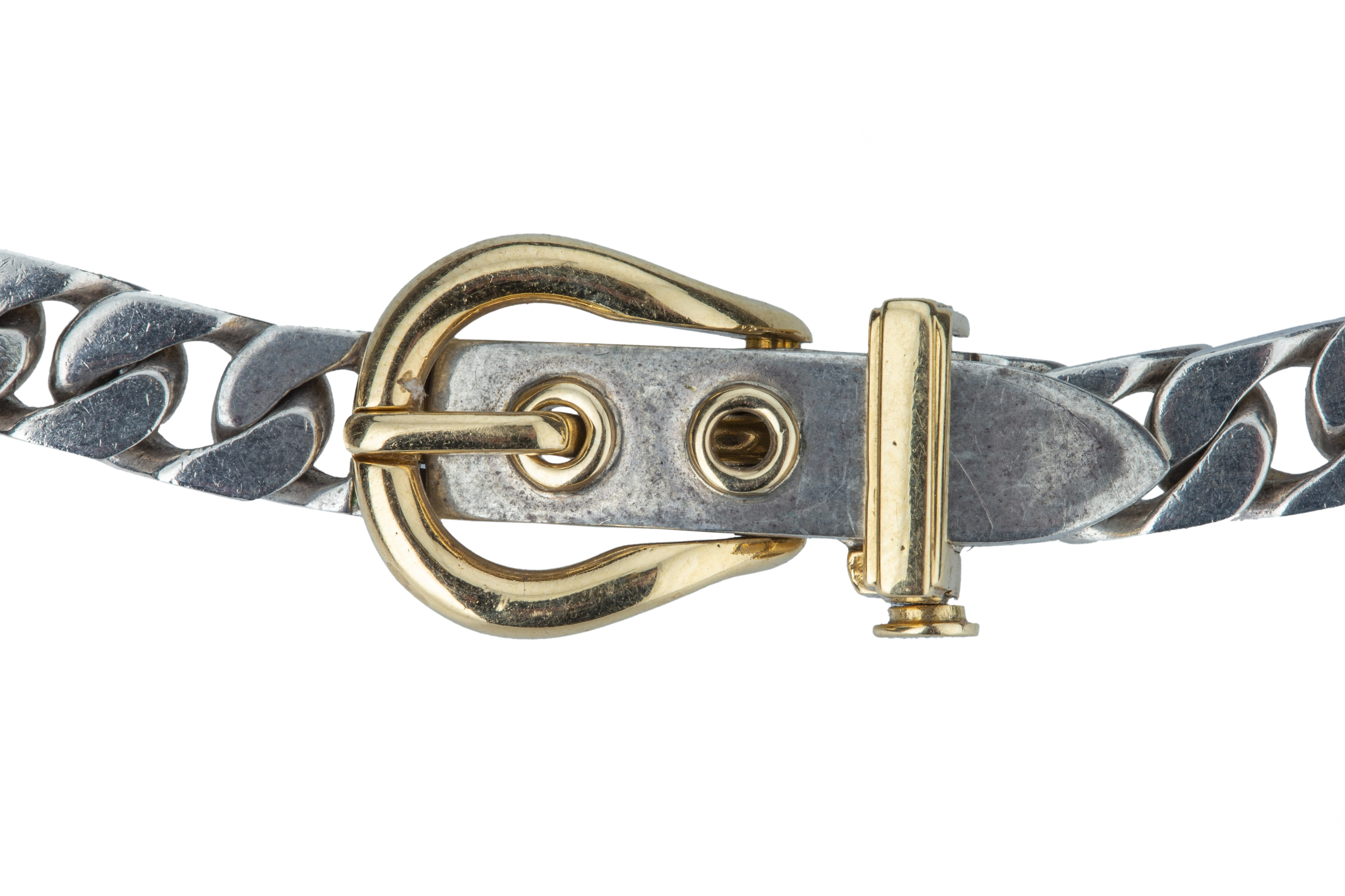 HERMES. An edgy silver collar with 18 ct gold yellow buckle. - Image 2 of 4