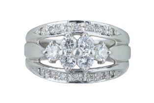 A delicate diamond ring.