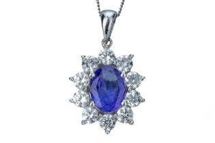 A tanzanite and diamond pendant.