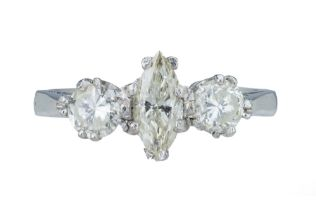 A diamond three stone ring.