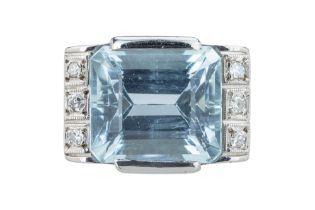 An Art Deco aquamarine and diamond dress ring.