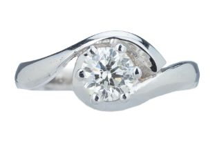 A single stone diamond ring.