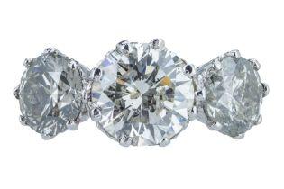 An impressive three stone diamond ring.