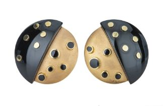 MORSE BROS. A pair of 1960s yellow gold and black enamel earrings.
