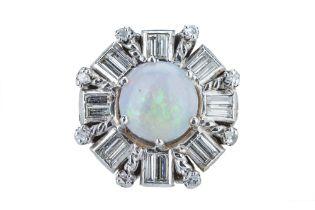 A precious opal and diamond dress ring.