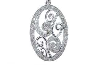 A white gold and diamond pendant.