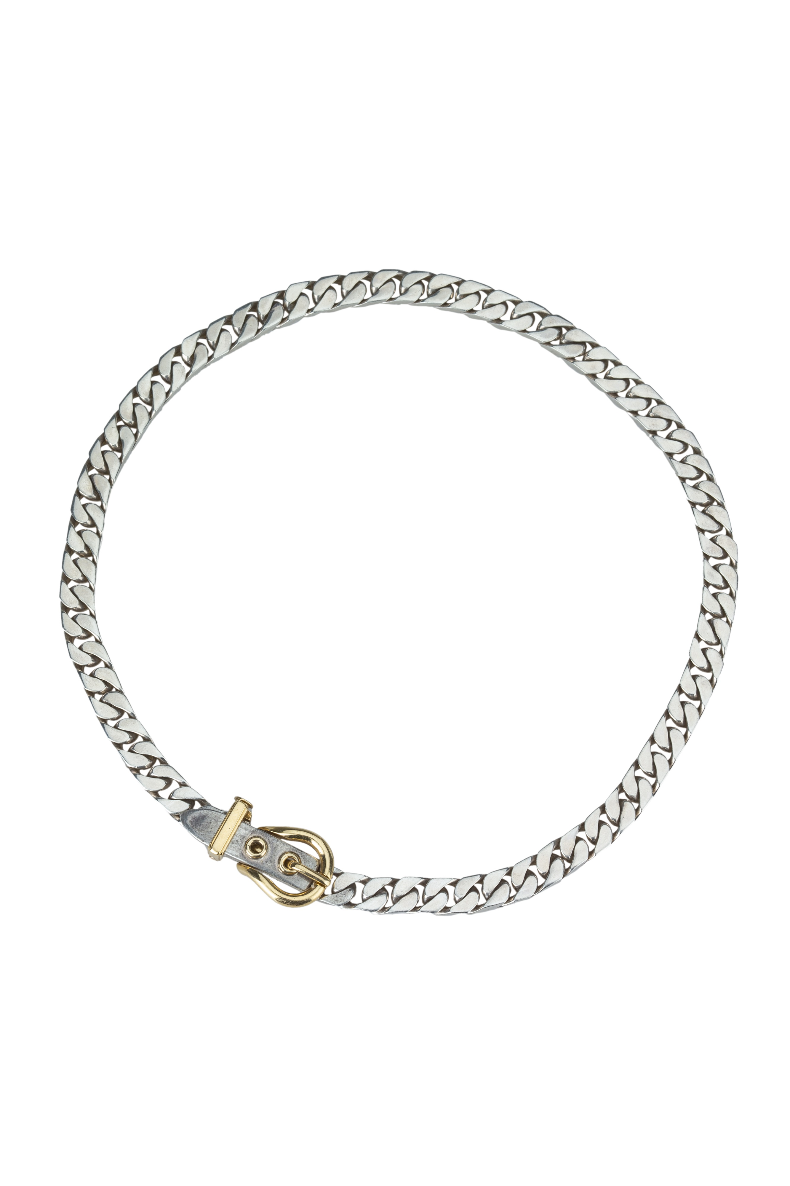 HERMES. An edgy silver collar with 18 ct gold yellow buckle.
