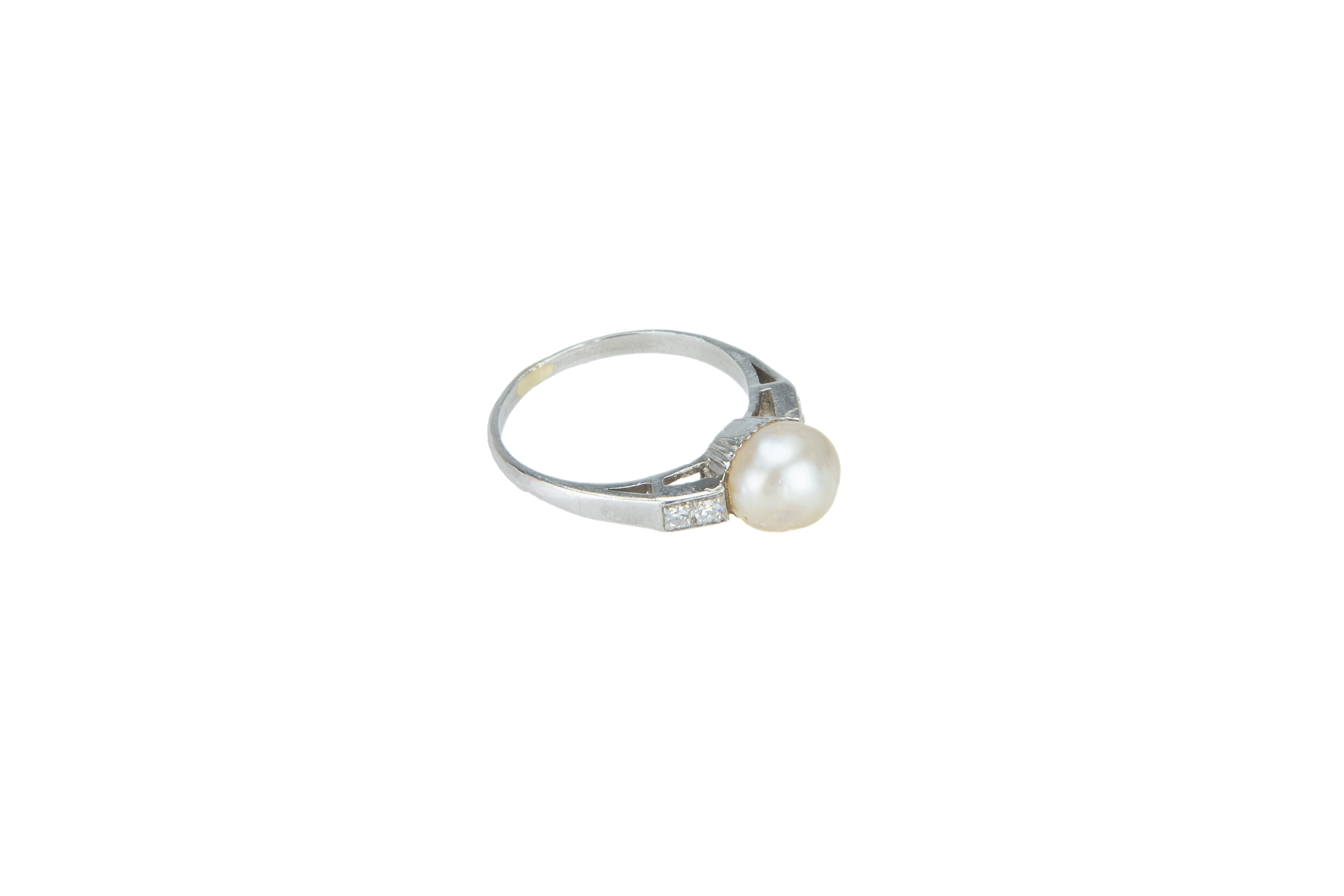 An Art Deco bouton pearl and diamond ring. - Image 5 of 5