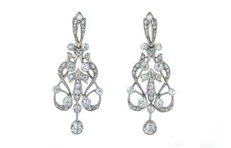 An elegant pair of late Victorian diamond earrings.