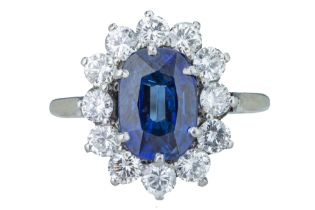 A striking sapphire and diamond cluster ring.