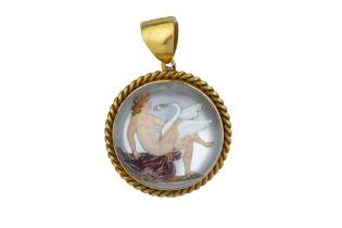 A Victorian reverse crystal intaglio pendant.