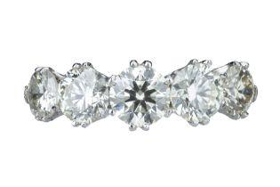 A five stone diamond ring.