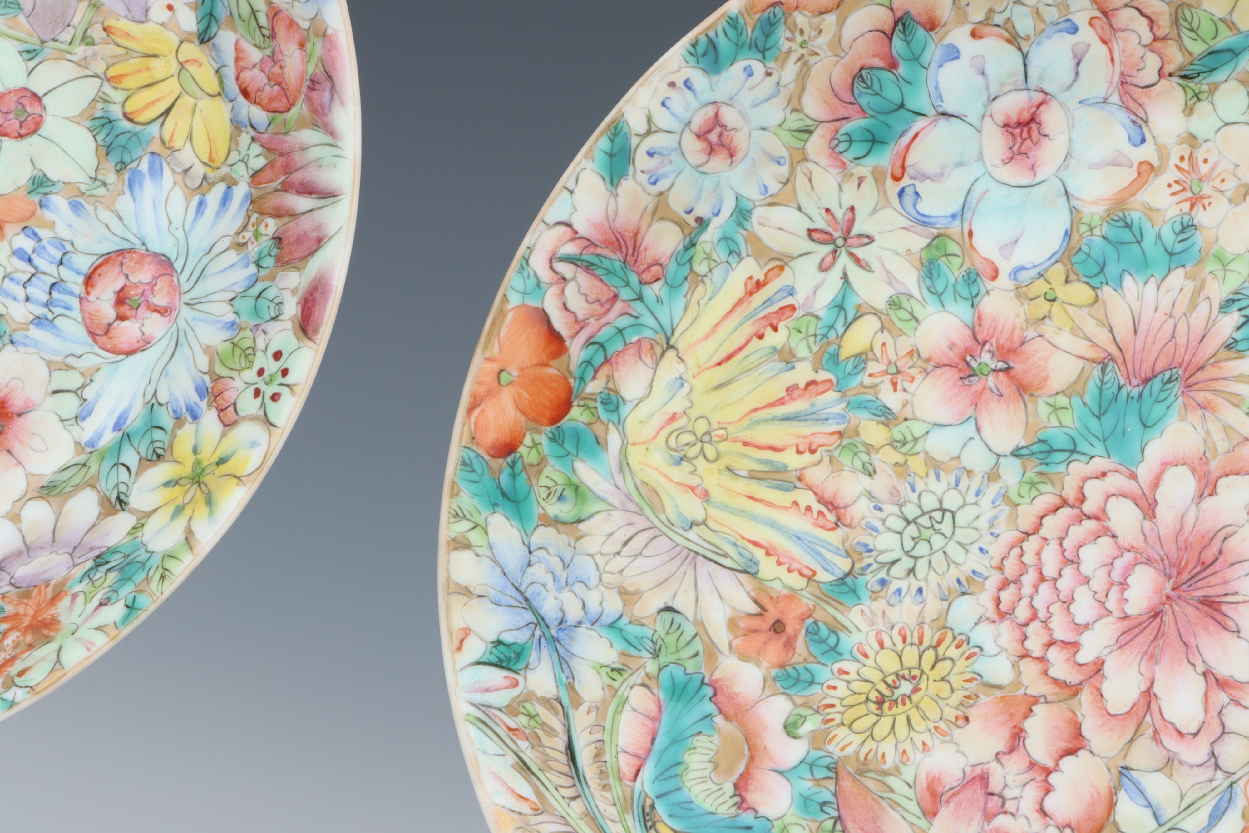 A Pair of Chinese Millefiore Shallow Bowls, - Image 3 of 6
