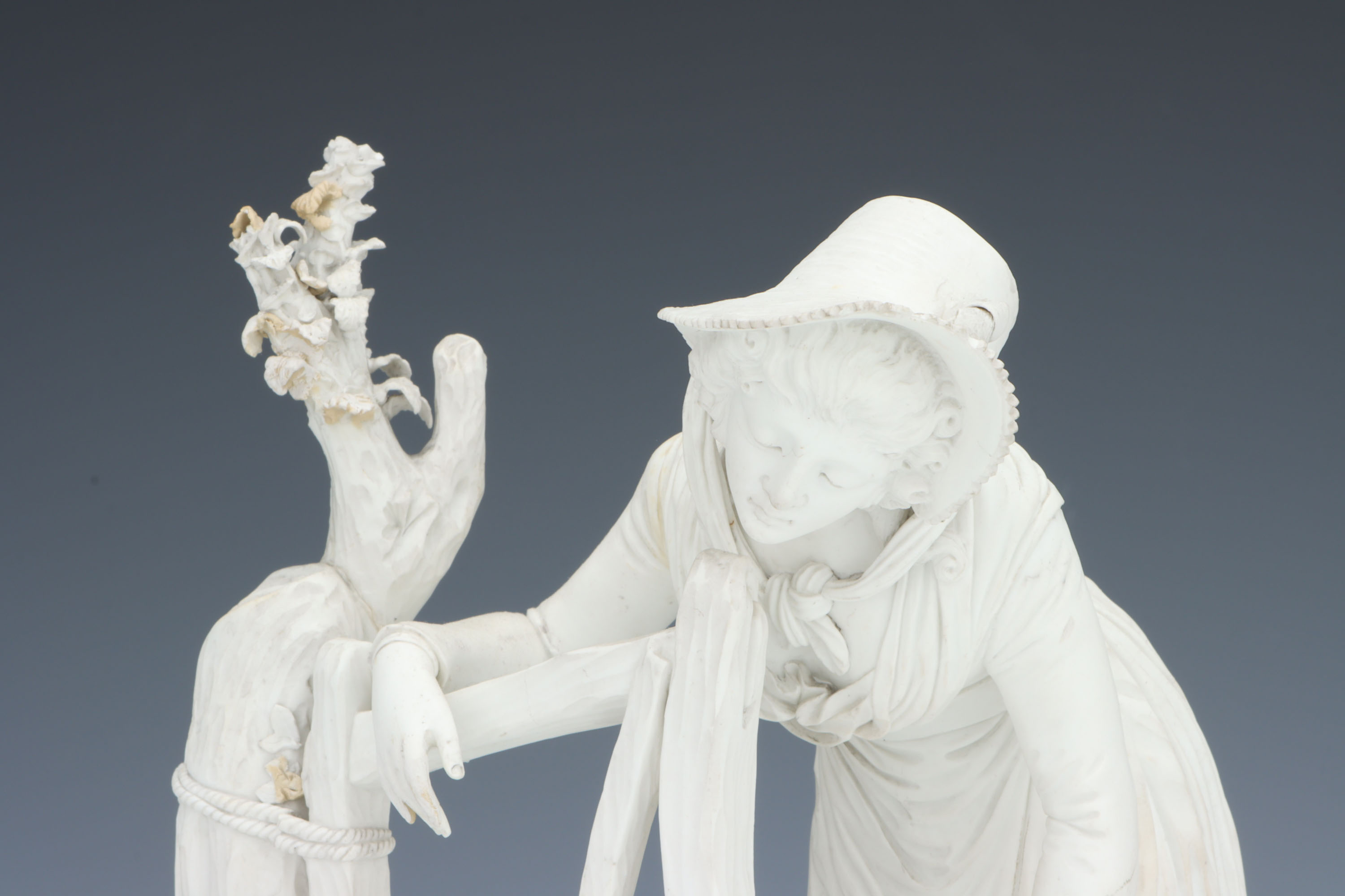A Rare Derby Biscuit Figure of a Shepherdess, - Image 5 of 5