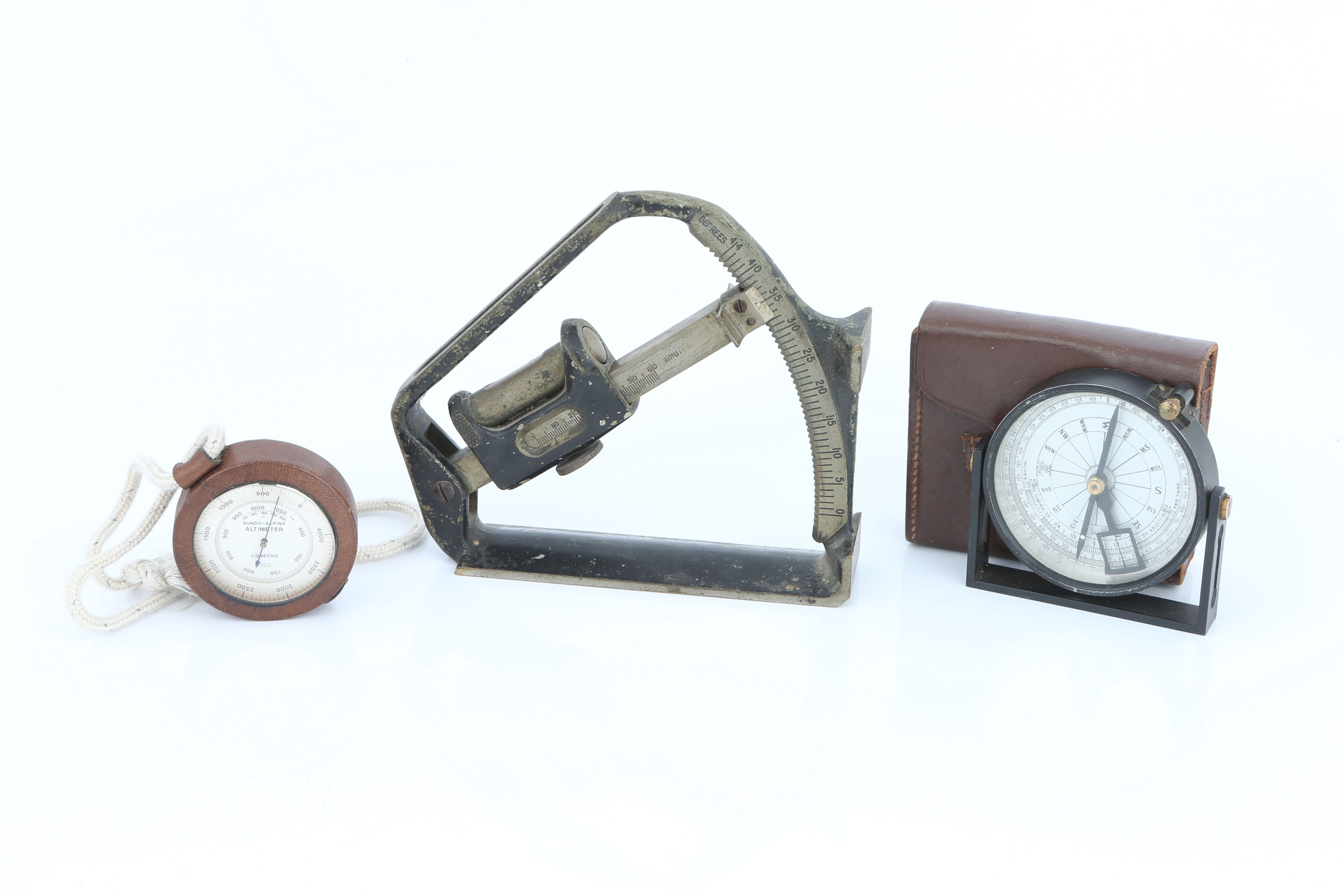 Two Clinometers and an altimeter,