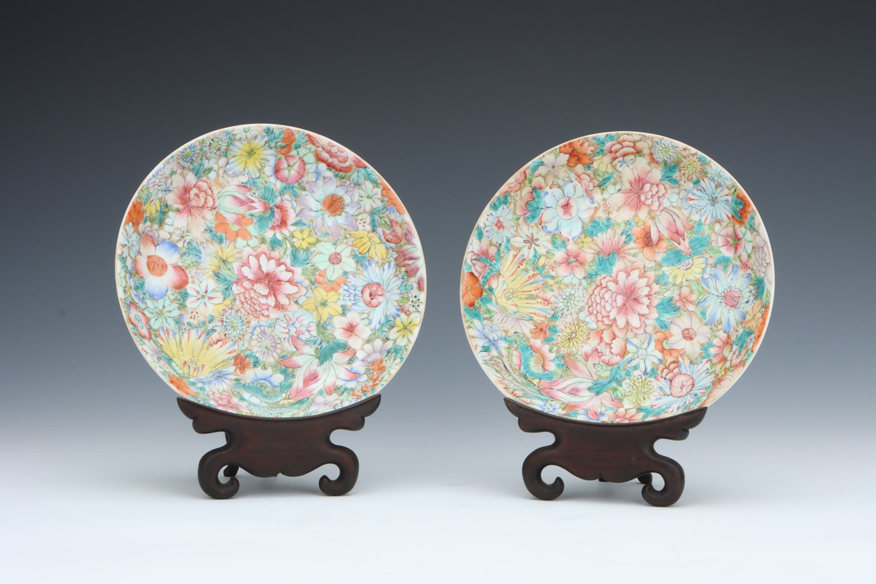 A Pair of Chinese Millefiore Shallow Bowls,
