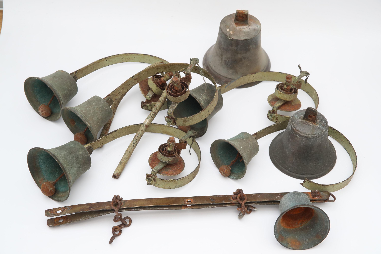 Collection of Eight Early Shop Door Bells,