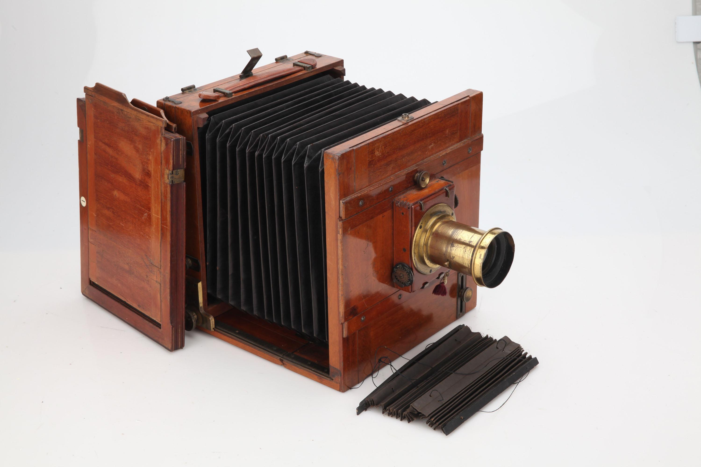 An Unmarked Stereo Mahogany & Brass Field Camera,