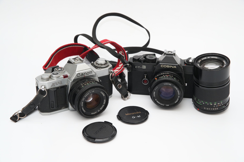 A Canon AV-1 SLR Camera,