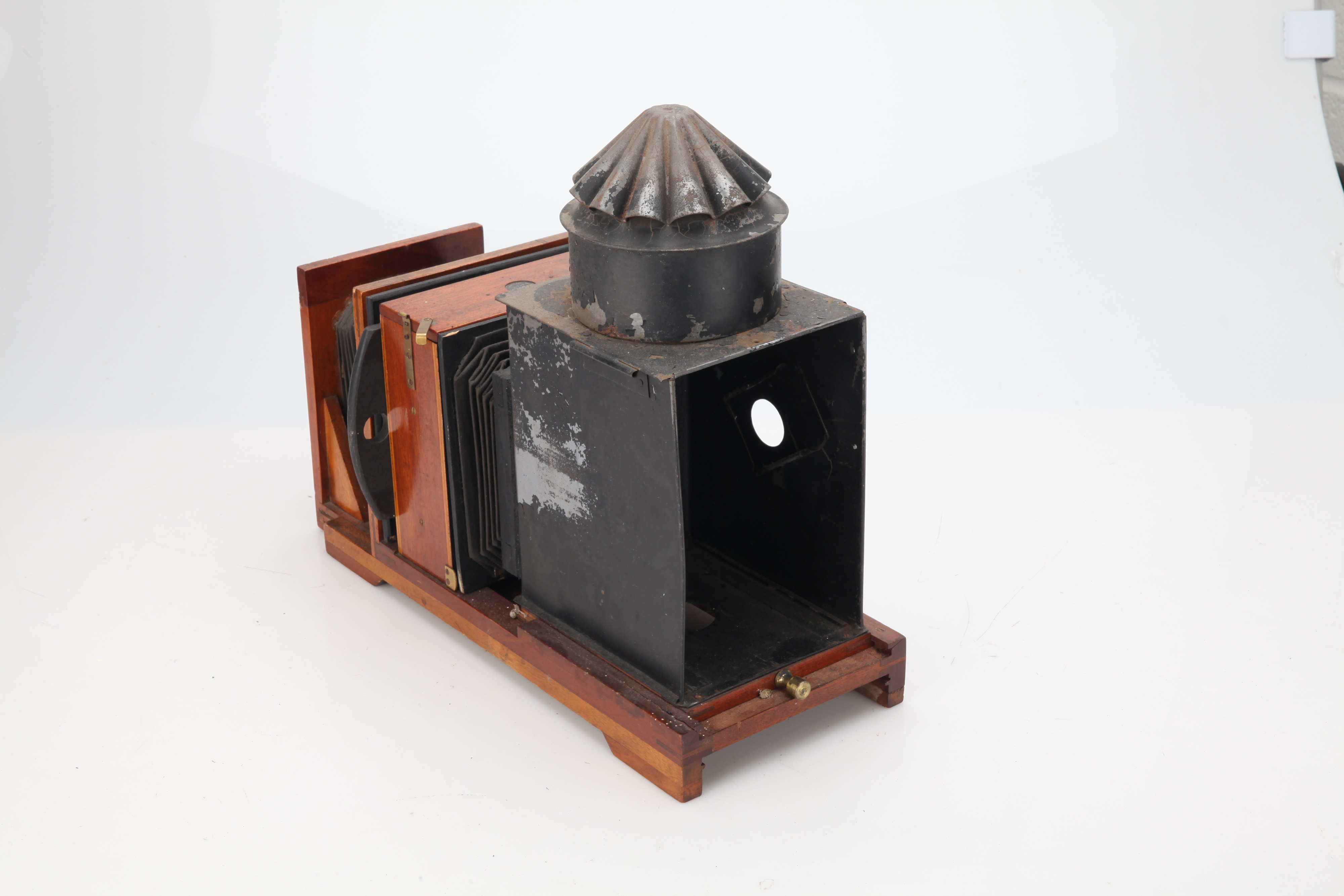 A Brass & Mahogany Quarter Plate Enlarger, - Image 2 of 3