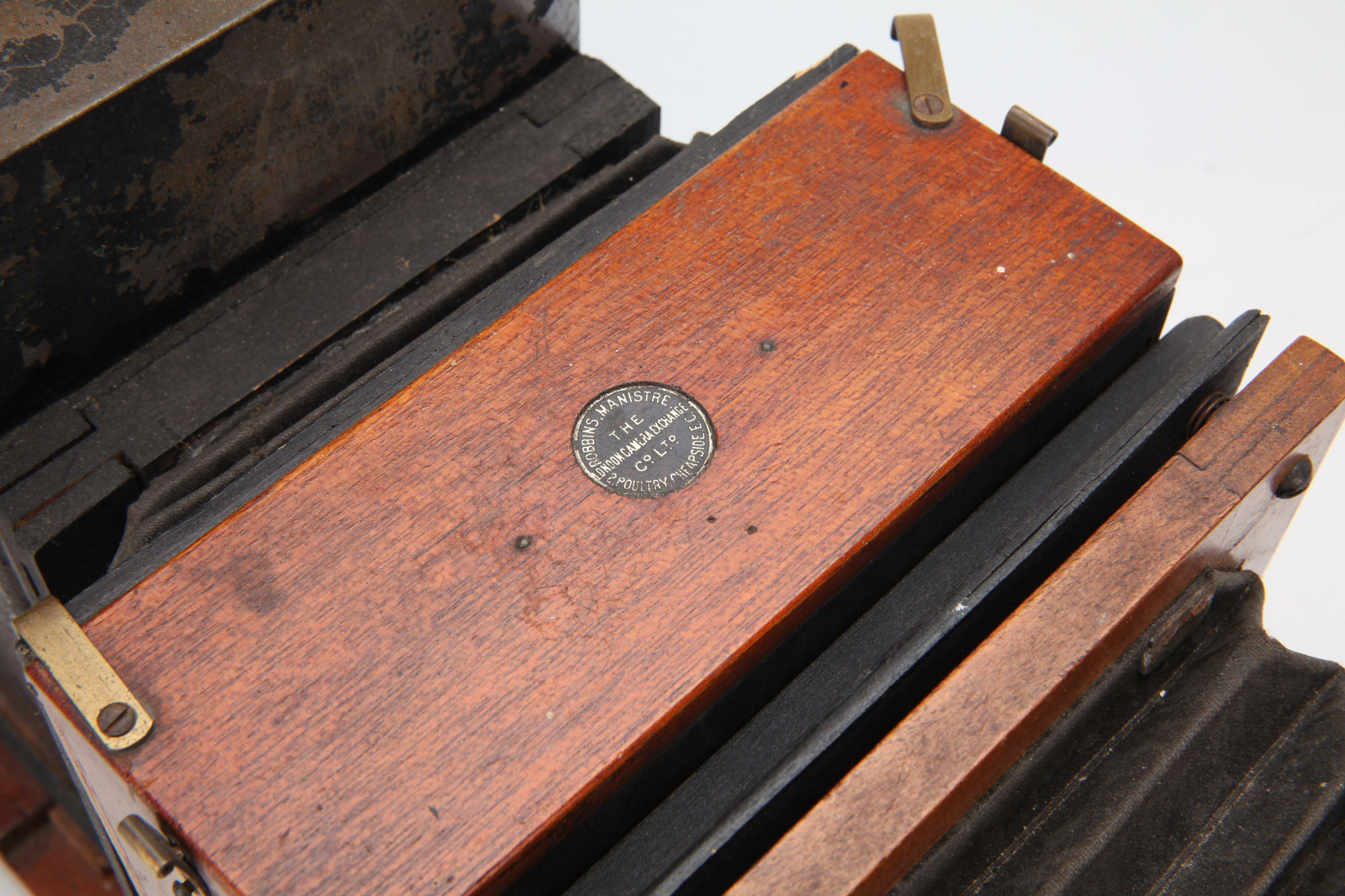 A Brass & Mahogany Quarter Plate Enlarger, - Image 3 of 3
