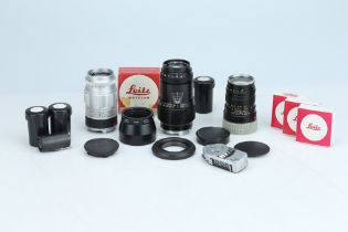 Three Leica M Mount Lenses & Leitz Accessories,