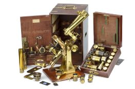 A Large Ross No.1 Binocular Microscope Re-Fitted by Powell & Lealand,