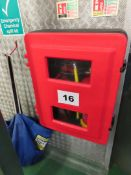 WALL MOUNTED FIRE EXTINGUISHER HOLDER.