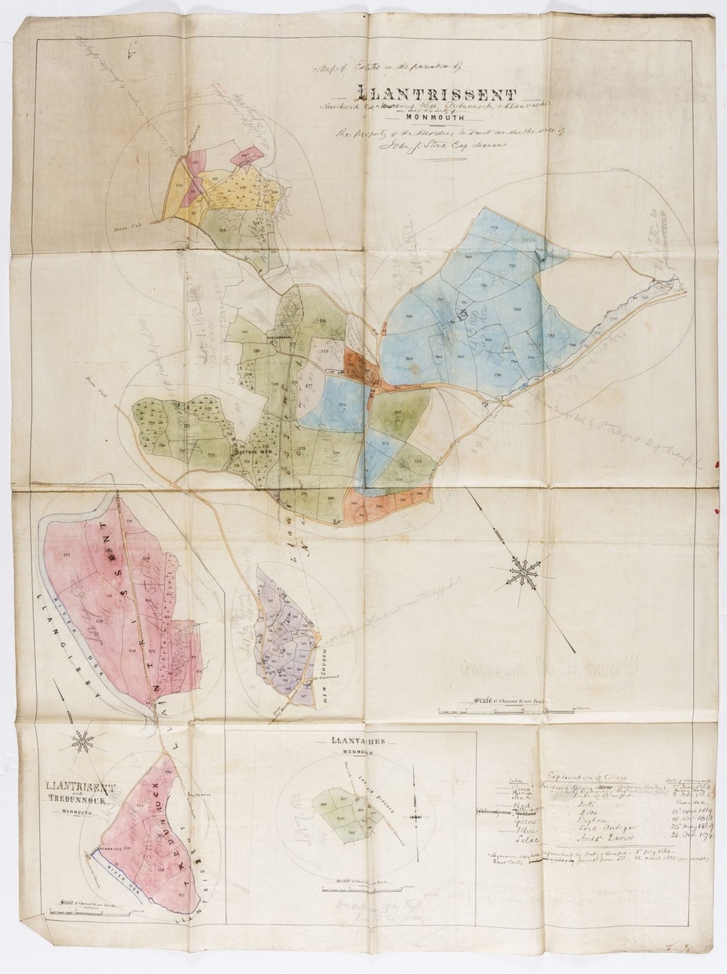 Wales.- Map of Estates in the parishes of Llantrissent... Monmouth, manuscript and pen and ink map …