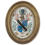 Heraldry.- Coat of arms of the Dendy family of Leigh Place, Surrey, oval watercolour coat of arms, …