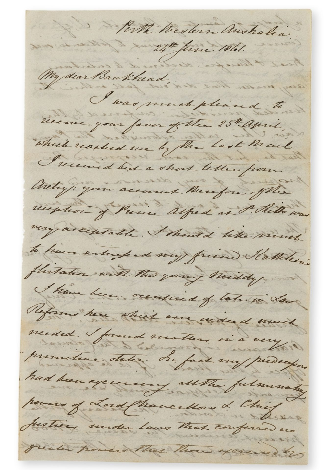 Australian Wine.- Burt (Sir Archibald) Autograph Letter signed to Andrew Bankhead, 1861, on his …