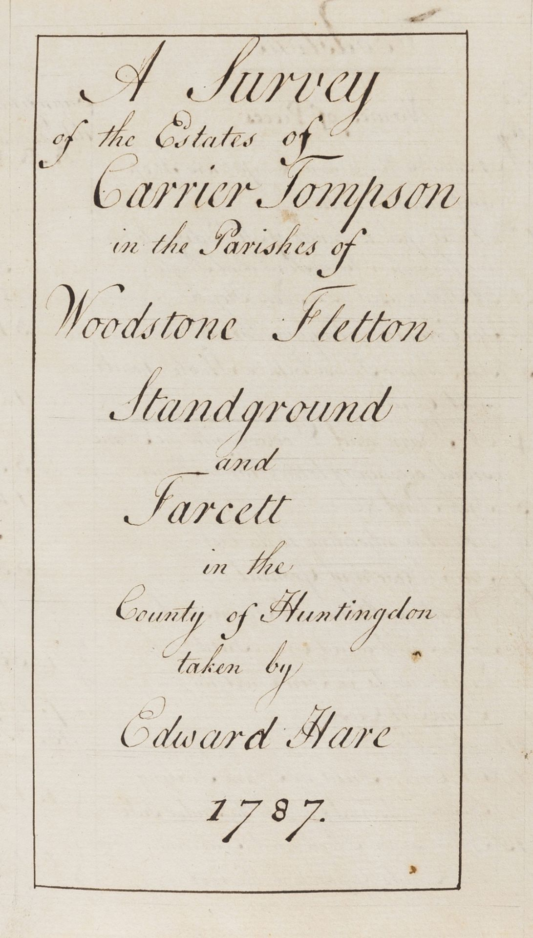 Huntingdonshire.- Hare (Edward, surveyor) A Survey of the Estates of Carrier Tompson in the …