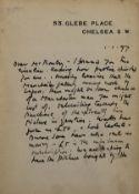 "Burne-Jones, Watts etc.- Rothenstein (William) Autograph Letter signed to ""Mr Rowley"" raising …"