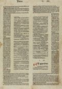 Bible, Latin. Leaf from Isaiah with commentaries, initials rubricated in red and blue, double …