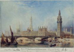 British Prime Ministers.- , The Palace of Westminster 1844, signed at foot by 8 former Prime …