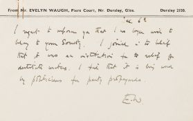 Waugh (Evelyn) 2 Autograph Postcards, resigning from the Society of Authors, 1950.