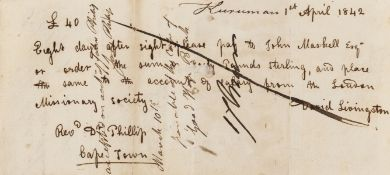 """Livingstone (David) Order to pay on behalf of the London Missionary Society to John Maskell """"Forty …"""
