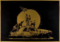 Banksy (b.1974) Gold Flag