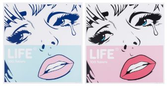 Ben Frost (b.1980) Life- 100 tablets Pink and Blue (set of two)
